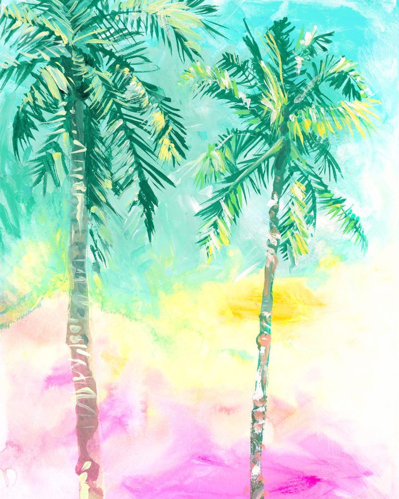 Palm Tree painting in watercolor. Sunset bright colours. Pink and yellow. California art.
